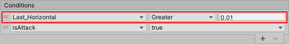 Set conditions for attack transitions in unity