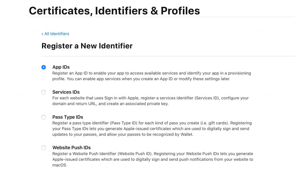 New Application Identifier in Apple Developer Program