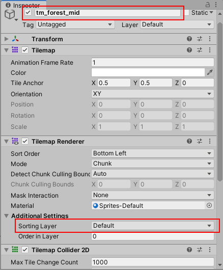 Create a Sorting Layer for tilemap renderer