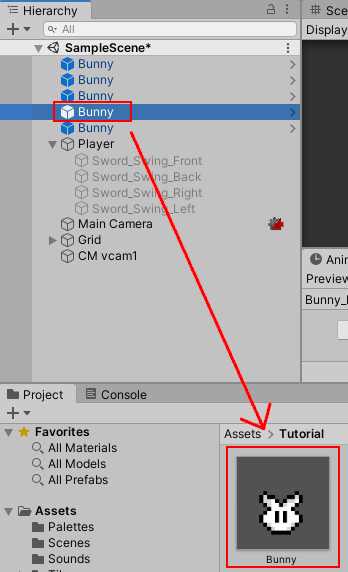 Making bunny prefab by drag & drop asset to 'Assets' panel