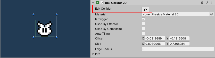 Editing the bounding volume inside the Box Collider 2D component