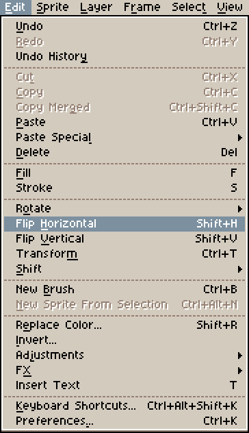 Flip Horizontal option in Aseprite dropdown menu