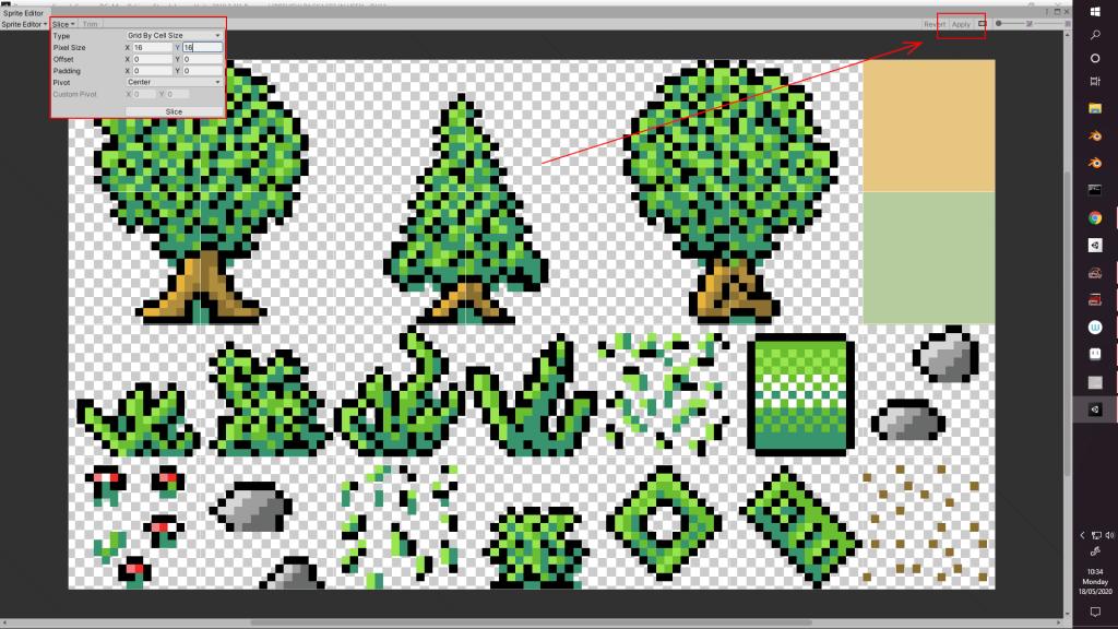 Forest level sprite sheet slicing inside Unity Sprite Editor