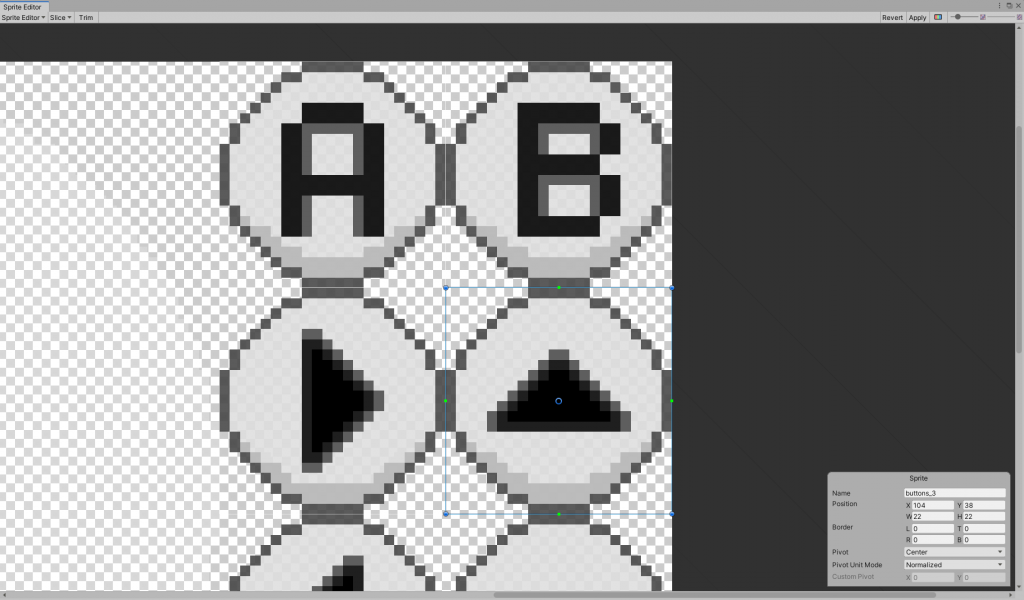 Importing and manually slicing the buttons in Unity