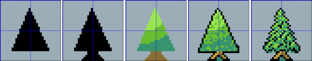 Making a pine tree asset in Aseprite