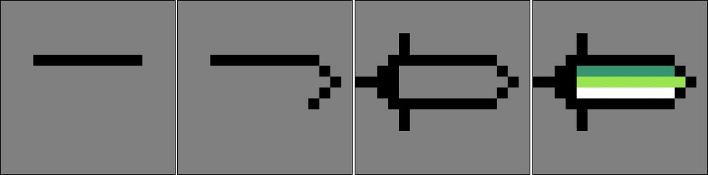 Process of creating a simple sword sprite in Aseprite