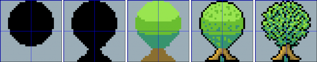 Making a tree asset in Aseprite