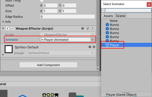 Select Player Animator for animator field defined in WeaponEffector script