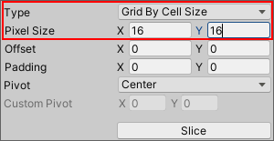 Setting slicing options in unity