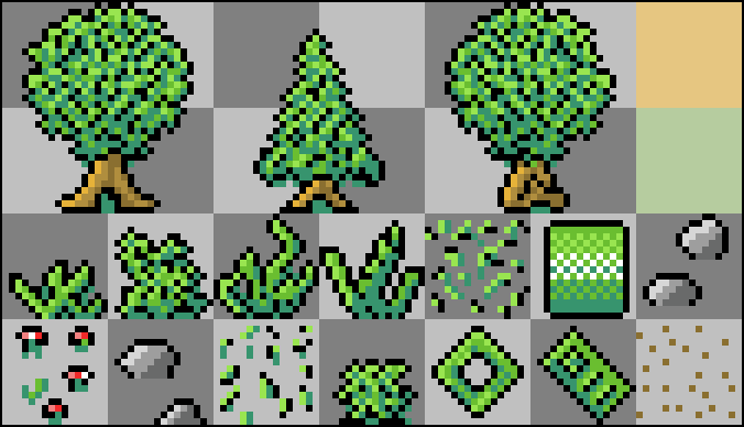 A tilemap containing all necessary forest assets