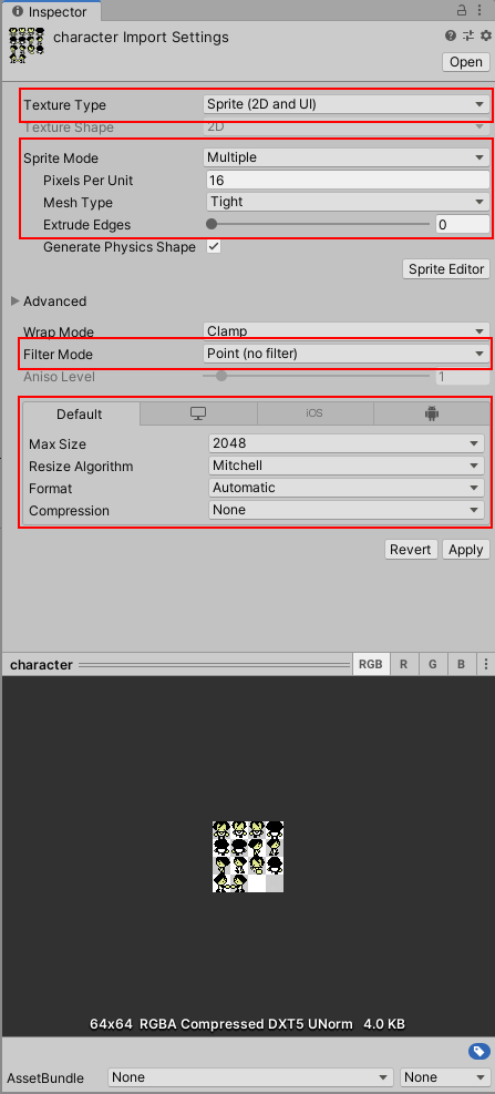 Sprite settings in unity game engine