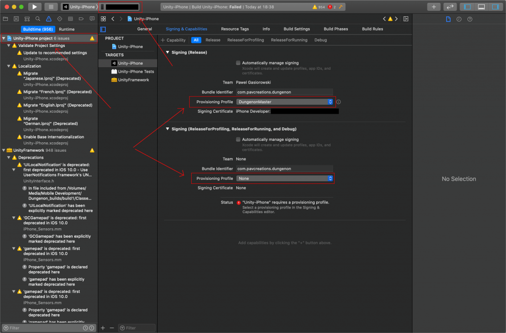 XCode settings for deploying Unity project in iPhone.